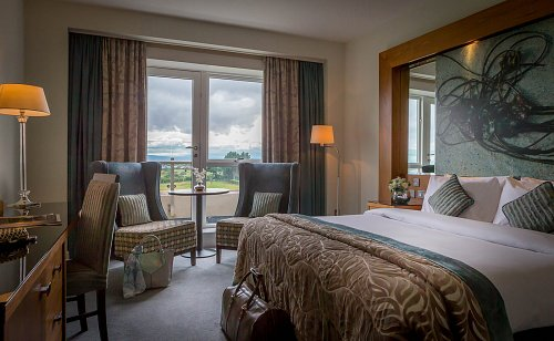 Double Bedroom - Staged for Leisure Couple and Incorporating View @ Portmarnock Hotel and Golf Restort Hotel Photographer © David Cantwell Photography