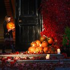 girl With Halloween Pumpkins  - Seasonal Commercial Photography © David Cantwell Photography