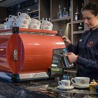 Barista Pouring Coffee in the Red Bean Rostery @Clayton London © David Cantwell Photography