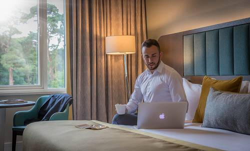Businessman in Corporate Hotel Bedroom @ Fota Island Hotel Cork  - Hotel Lifestyle Photographer © David Cantwell Photography