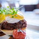 Poached Egg on Shredded Beef with Hollandaise Sauce Appetizer - Food Photography © David Cantwell Photography