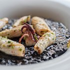 Calamari on a Bed of Squid ink Risotto - Seafood Food Photography © David Cantwell Photography