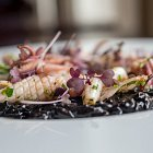 Calamari in a Bed of Squid ink Risotto - Seafood Food Photography © David Cantwell Photography