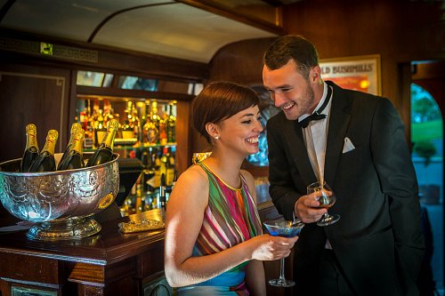 Couple Having Drinks In the Pullman Restaurant Formly the Orient Express Train Carraiges @ Glenlo Abbey Hotel © David Cantwell Photography