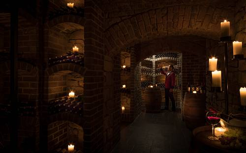 Sommelier Testing Wine in the Wine Cellar @ Kilronan Castle Hotel © David Cantwell Photography